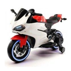 Детский электромотоцикл Ducati 12V - FT-1628 бело-красный (колеса резина, сиденье кожа, музыка, страховочные колеса)